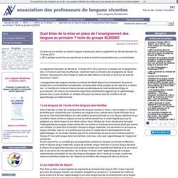 Quel bilan de la mise en place de l'enseignement des langues au primaire ? texte du groupe ALDIDAC