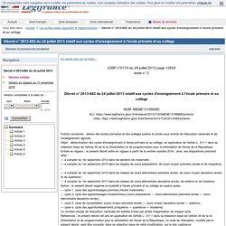 Décret n° 2013-682 du 24 juillet 2013 relatif aux cycles d'enseignement à l'école primaire et au collège