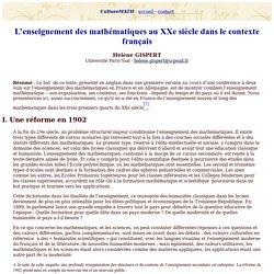 L'enseignement des mathématiques au XXe siècle