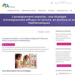 L'enseignement explicite : une stratégie d'enseignement efficace en lecture, en écriture et en mathématiques - TA@l'école