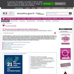 21 mesures pour l'enseignement des mathématiques - Ministère de l'Éducation nationale et de la Jeunesse