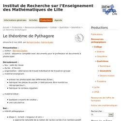 Le théorème de Pythagore - Institut de Recherche sur l'Enseignement des Mathématiques de Lille