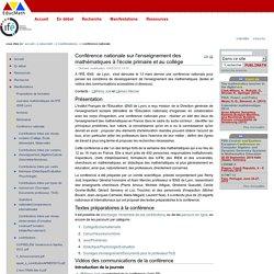 Conférence nationale sur l'enseignement des mathématiques à l'école primaire et au collège