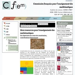 Sites ressources pour l'enseignement des mathématiques — Commission française pour l'enseignement des mathématiques