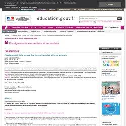 Enseignement de la langue des signes française à l'école primaire - Mene0817503a
