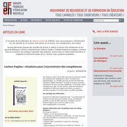 Revue Dialogue - GFEN - pratiques - analyses - pédagogie - enseignement - apprendre - enseigner - recherche pédagogique - notes de lecture - entretiens -