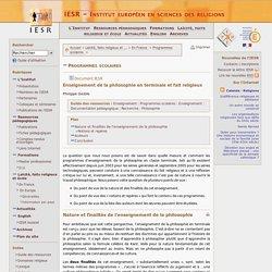 Laïcité, faits religieux et école - En France - Programmes scolaires - Enseignement de la philosophie en terminale et fait religieux