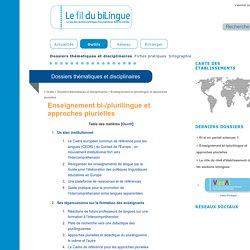Enseignement bi-/plurilingue et approches plurielles | Le Fil du Bilingue