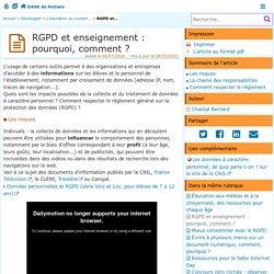 RGPD et enseignement : pourquoi, comment ? - DANE de Poitiers