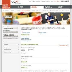 Certificat d'enseignement au préscolaire et au primaire en milieu nordique (4340)