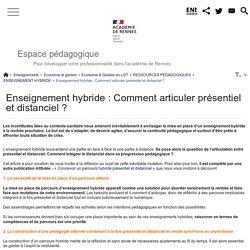 Enseignement hybride : Comment articuler présentiel et distanciel ? - Espace pédagogique