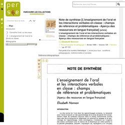 Note de synthèse [L'enseignement de l'oral et les interactions verbales en classe : champs de référence et problématiques - Aperçu des ressources en langue française]
