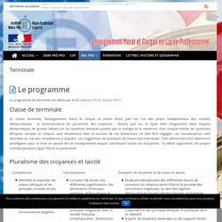 Terminale – Enseignement Moral et Civique en Lycée Professionnel, Académie de Nancy-Metz