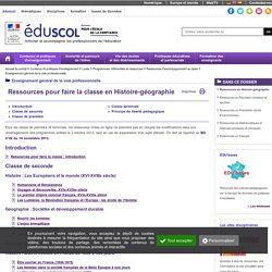 Enseignement général de la voie professionnelle - Ressources en Histoire-géographie