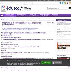 Programmes de l'enseignement général de la voie professionnelle