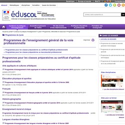 Programmes du bac pro (Eduscol)
