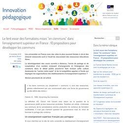 """Le lent essor des formations mises """"en communs"""" dans l'enseignement supérieur en France : 10 propositions pour développer les communs"""