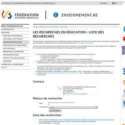 Les recherches en éducation : liste des recherches