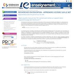 Recherches en éducation - Apprendre à écrire sur le net