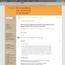 Mesure de la qualité des services d'enseignement et restructuration des secteurs éducatifs