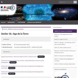Atelier 1b : Age de la Terre – Enseignement Scientifique