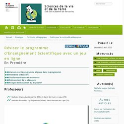 Versailles - Réviser le programme d'Enseignement Scientifique avec un jeu en ligne