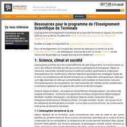 Ressources pour le programme de l'Enseignement Scientifique de Terminale