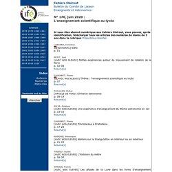 INRP - CLEA - Archives : Fascicule N° 170, juin 2020 L'enseignement scientifique au lycée