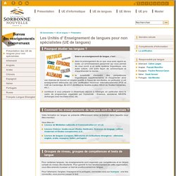 Les Unités d' Enseignement de langues pour non spécialistes (UE de langues)