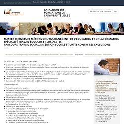 Master Sciences et métiers de l'Enseignement, de l'Education et de la Formation Spécialité Travail éducatif et social (TES),