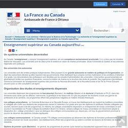 Enseignement supérieur au Canada aujourd'hui