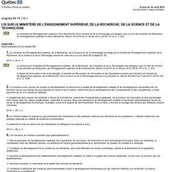 Loi sur le ministère de l'Enseignement supérieur, de la Recherche, de la Science et de la Technologie