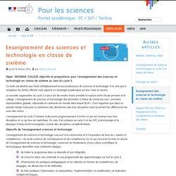 Enseignement des sciences et technologie en classe de sixième - Pour les sciences