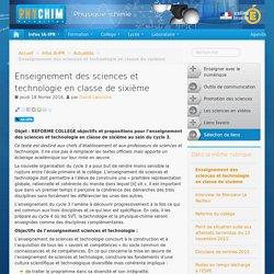 Enseignement des sciences et technologie en classe de sixième