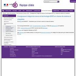 Enseignement intégré de science et technologie (EIST) en classes de sixième et cinquième