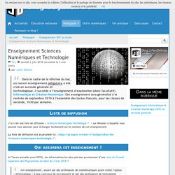 Enseignement Sciences Numériques et Technologie