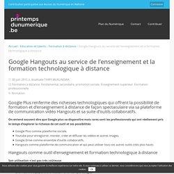 Google Hangouts au service de l'enseignement et la formation technologique à distance