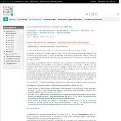 Enseignement 2011-2012 — Étudier les cultures du numérique : approches théoriques et empiriques