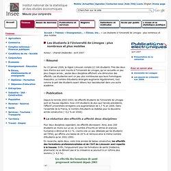 Enseignement-Éducation - Les étudiants à l'Université de Limoges : plus nombreux et plus mobiles