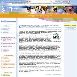 """Pau/Bayonne - IAE : lancement d'un outil d'enseignement innovant avec le projet """"Educ & Clic"""" - Université de Pau et des pays de l'Adour"""