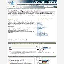 numérique et enseignement - enquête sur l'utilisation pédagogique des ressources numériques