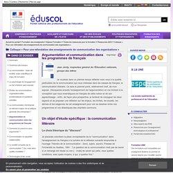 Colloque « Pour une refondation des enseignements de communication des organisations » - Argumentation et communication dans les programmes de français