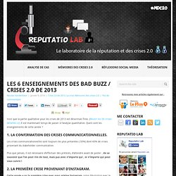 Les 6 enseignements des bad buzz / crises 2.0 de 2013 - Reputatio Lab