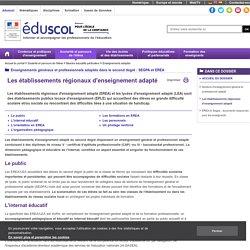 Enseignements adaptés - Les établissements régionaux d'enseignement adapté
