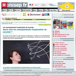 Quels sont les enseignements d'exploration de seconde ?