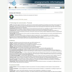 enseignements informatiques - lexique de l'internet