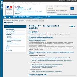 Terminale ES - Enseignements de spécialité — S.E.S