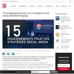 15 enseignements pour vos stratégies social media [HUDBAY Replay] - - HUB Institute – Digital Think Tank