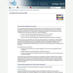 collège 2016 - enseignements et transversalité