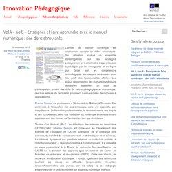 Vol.4 - no 6 - Enseigner et faire apprendre avec le manuel numérique : des défis stimulants